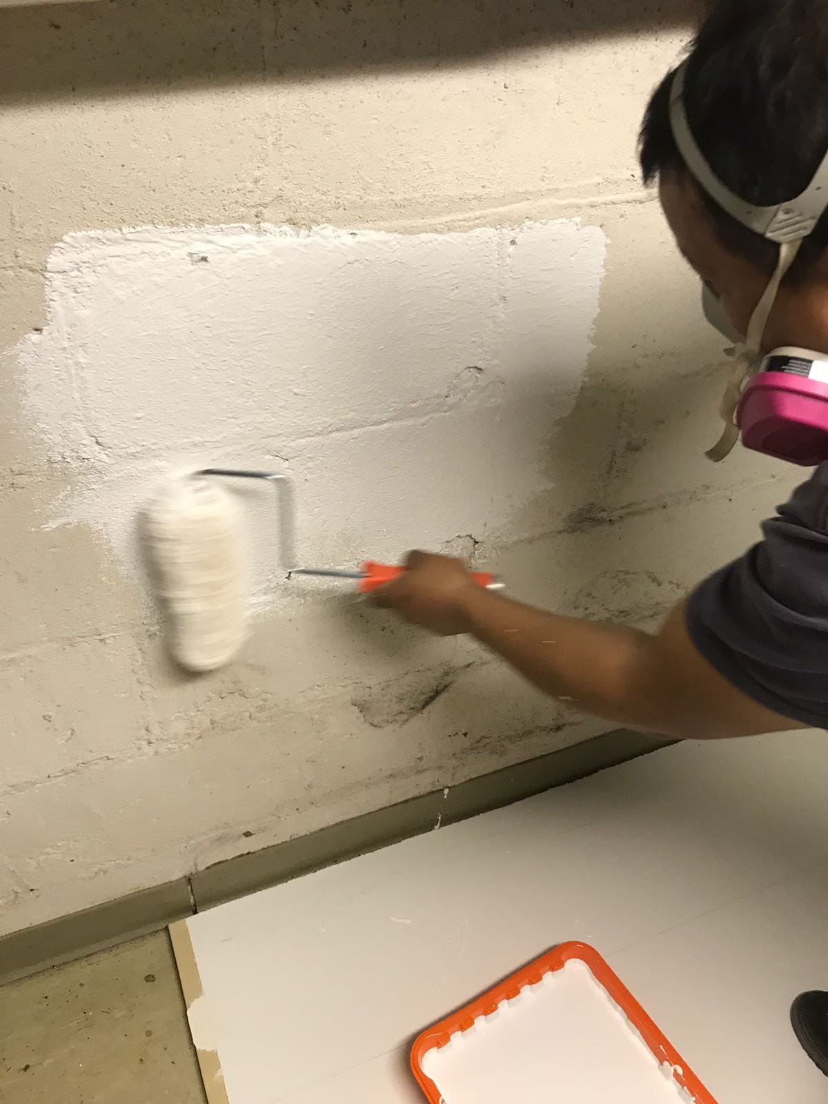 applying waterproofing paint to basement